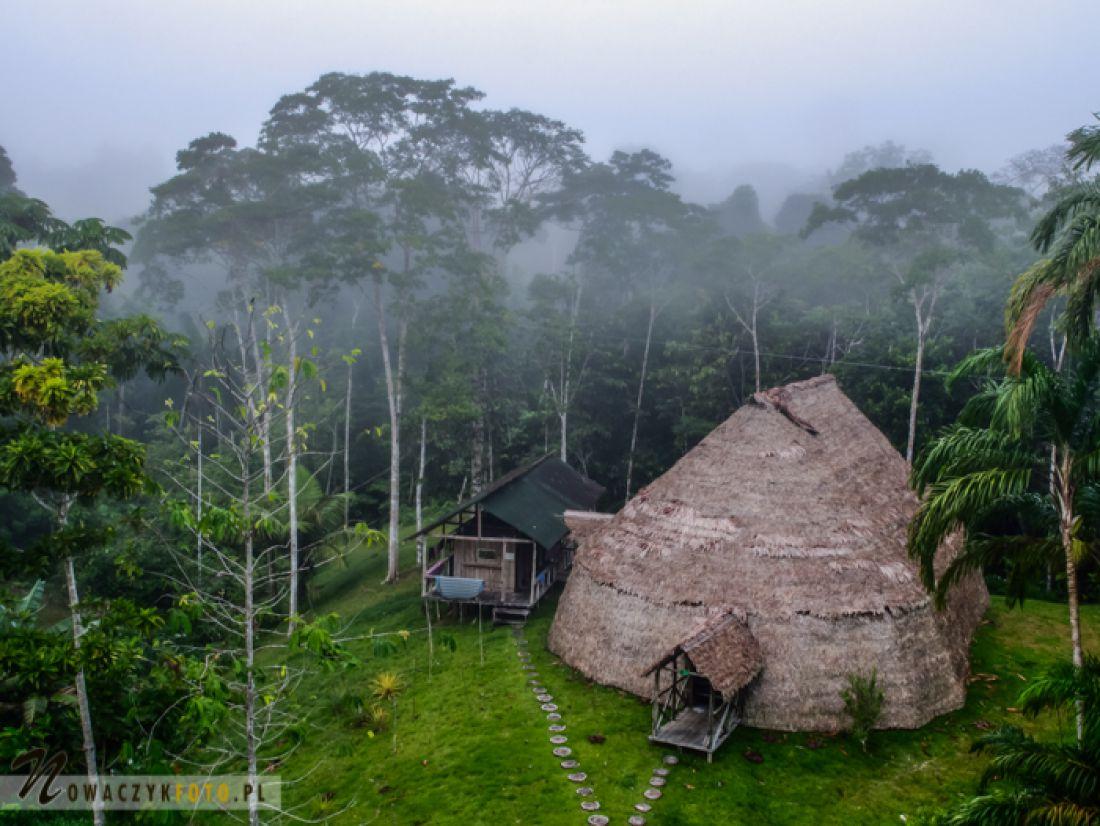Tradycyjna chata indiańska w środku lasu deszczowego Kolumbii.