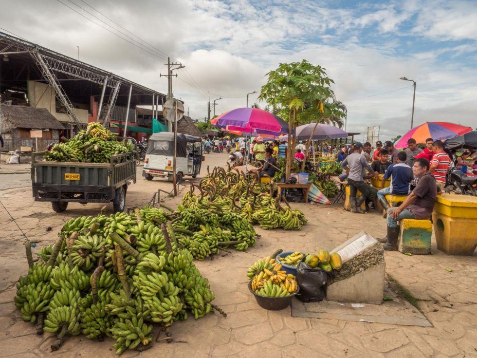lokalny bazar ze stoiskiem z bananami
