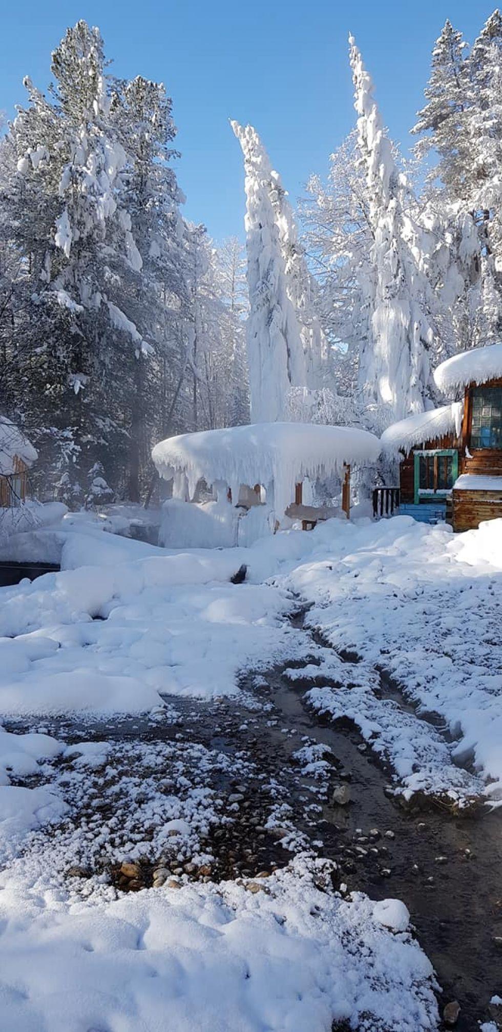 śnieżna pokrywa w okolicach syberii w rosji