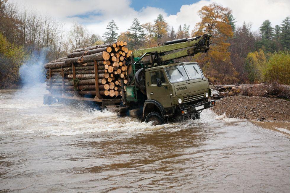 dowoz drewna do rosyjskich wiosek