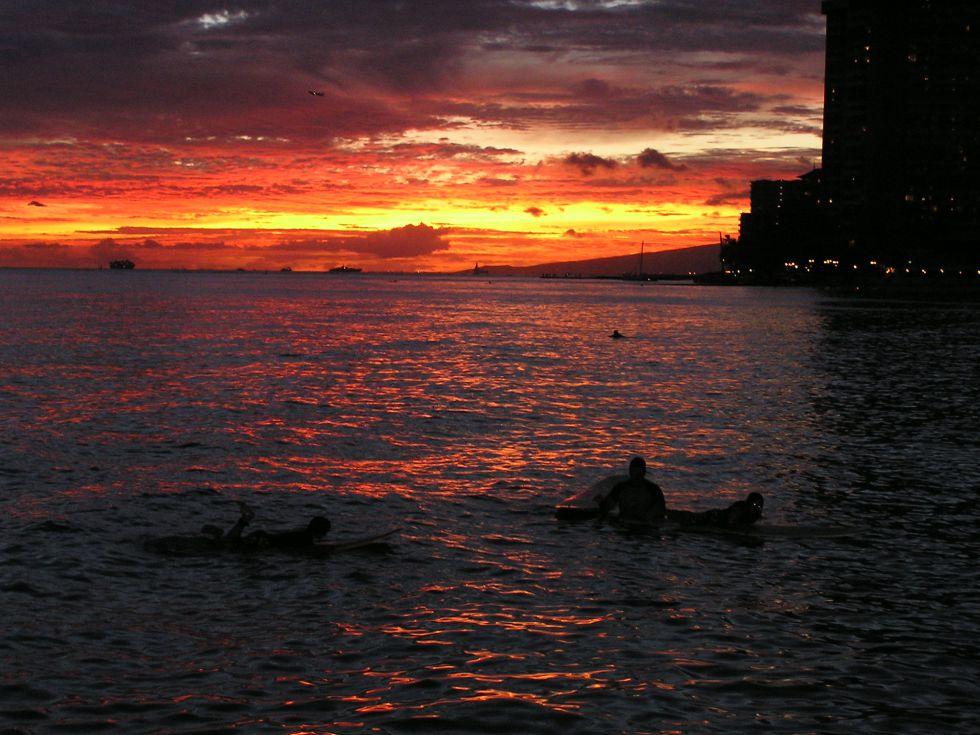 Hawaje o zachodzie słońca